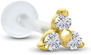 14K Yellow Gold Trinity Labret Nose Ring Stud Bioflex Post 3/16, 1/4, 9/32, 5/16, 3/8 Trinity CZ 16G or 18G