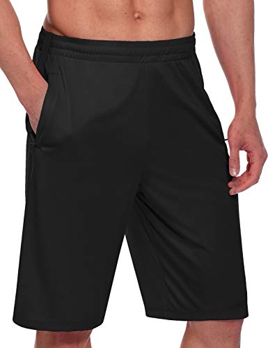 BALEAF Men's 11'' Athletic Basketball Jersey Shorts Training Sports Workout Shorts Drawstrings Zipper Pockets Black Size M