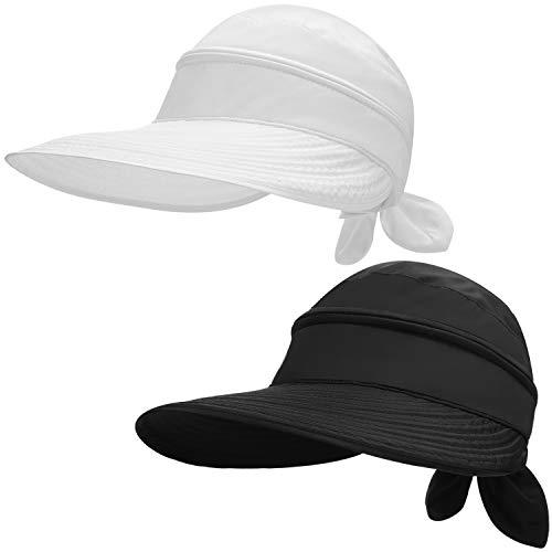 SATINIOR 2 Stücke Damen Breit Krempe Sonnenhut Kabriolett UV Schutz Strand Visier Hut (Weiß, Schwarz)