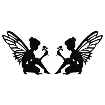 Fairy Silhouette with Flower Vinyl Decal/Sticker car Truck Window Fantasy Magic 5  х 4.5   Black  Set of 2