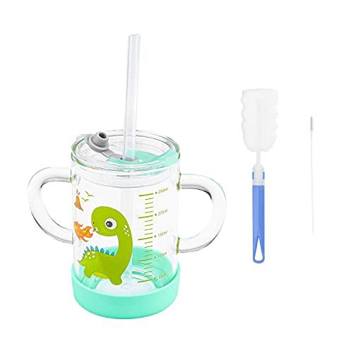 Lontg - Taza de leche de cristal con pajita de silicona y vaso de beber con doble asa, tapa antigoteo, taza con diseño de dibujo de 300 ml para niños y niñas