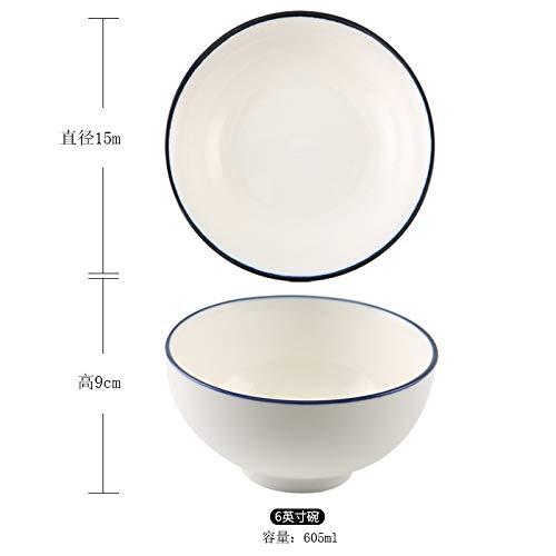 Nordic Einfache Unterglasur Farbe Haushaltsgeschirr Blaue Seite Reisschüssel Handbemalte Japanische Keramik Suppenschüssel Schüssel Salatschüssel 6 Zoll Schüssel