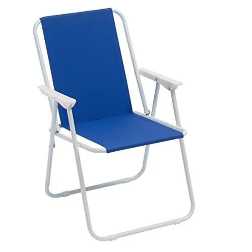 Sedia Pieghevole da Mare, Sedia Campeggio, Giardino, Spiaggia, Piscina, Sedia da Esterno Pieghevole Colorata, Colore Blu 52x44x76 cm