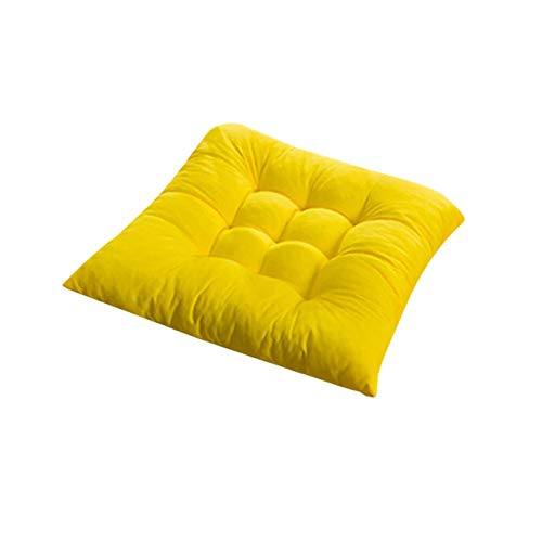 Soft Thicken Pad Chair Cushion Solid Color Tied Rope Chair Cushion Dining Room Kitchen Office Home Decor Chair Cushion Decor (Color : YELLOW)