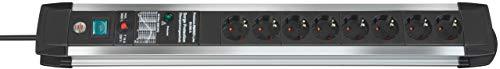 Brennenstuhl Premium-Protect-Line regleta enchufes con 8 tomas de corriente y protección sobretensiones (cable de 3m, interruptor, protección antirayos hasta 60.000 A, Made in Germany) plateado/negro