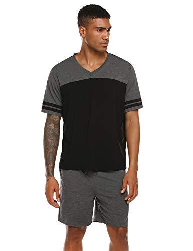 Ekouaer Men PJ Set Short Sleeve Pajama Shorts Set 2 Piece Set Sleepwear Short Leg Lounging Nightwear V-Neck Sleep Set Black