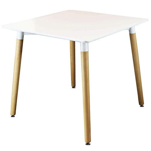 Milani Home s.r.l.s. Tavolo da Pranzo Moderno di Design Quadrato Fisso Cm 80 X 80 in ABS Bianco con...