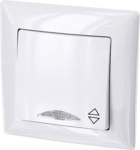 UP Wechselschalter mit LED-Beleuchtung - All-in-One - Rahmen + Unterputz-Einsatz + Abdeckung (Serie G1 reinweiß)