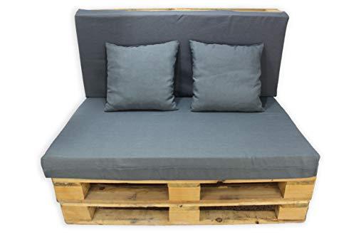 Conjunto 4 Piezas Sofá de Palets, Asiento Palet 120x80 cm + Respaldo + Dos Cojines. Cómodo y Elegante para Interior y Exterior. (Gris Oscuro, Lisos)
