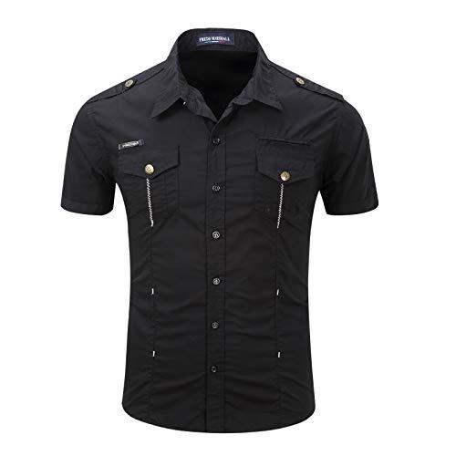 Camisa de Manga Corta con Costura para Hombre, Bolsillos de Color sólido, decoración, Acampar al Aire Libre, Trabajo de Combate, Camisas Regulares L