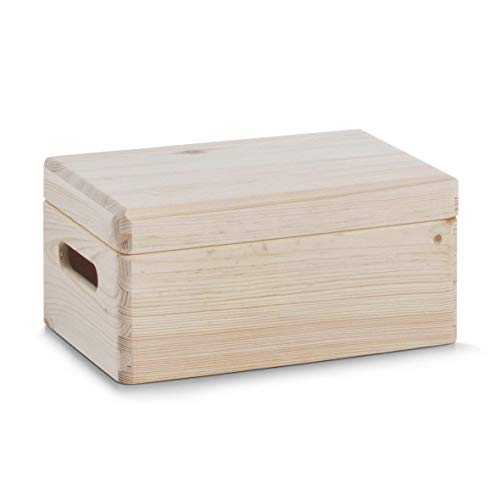 Zeller 13516, Contenitore portaoggetti con coperchio, in legno di conifera, 30 x 20 x 14 cm