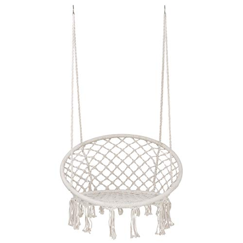 SUPER DEAL Macrame Hanging Chair Swing Chair with Tassels - Bohemian Style Cotton Rope Mesh Hammock Chair for Indoor&Outdoor - Perfect Decor and Relaxation Choice for Home, Garden, Patio, Yard
