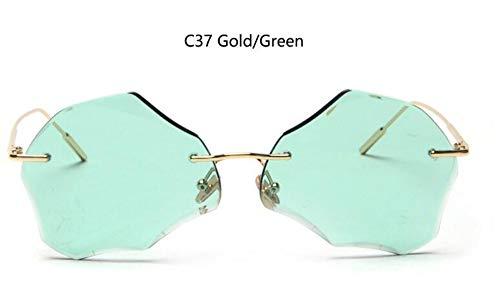 KONGYUER Sonnenbrillen, Brillen,Goldgrüne Randlose Brillengläser Damen Unregelmäßige Sonnenbrillen Retro-Metall-Sonnenbrillen Designer-Brillengläser Uv400