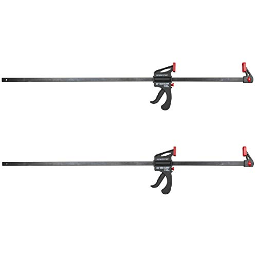 POWERTEC 71597 36 inch Quick Release Bar Clamp with 42 inch Spreader | Ratcheting Bar Clamp, 2PK