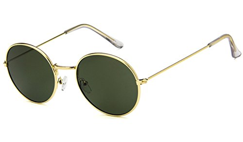 CHICNET Gafas de sol redondas de color dorado y plateado, 400 UV tintadas, para hombre y mujer, estilo hippie retro, vintage verde
