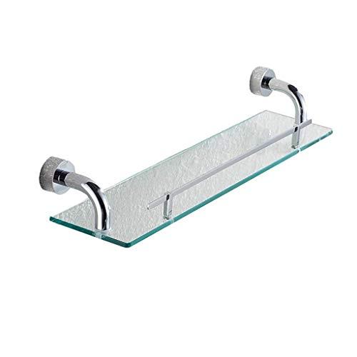 Cuarto de baño estante de vidrio, Estante del cuarto de baño, estante de cristal templado de una sola capa Soporte de la preparación del cobre para el estante delantero del espejo del estante del cuar