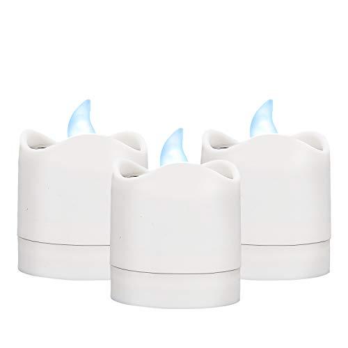 TYXSHIYE - 6 candele solari a LED, per esterni, luce bianca calda, senza fiamma, per giardino, cortile, vialetto, balcone, matrimonio, decorazione per la casa