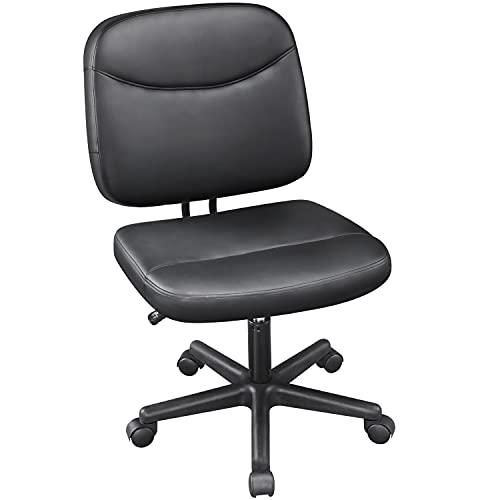 Yaheetech Bürostuhl ohne Armlehnen Schreibtischstuhl Bürodrehstuhl aus Kunstleder Drehstuhl stufenlos höhenverstellbar, Chefsessel Belastbar bis 125 kg extra breit Platzsparend