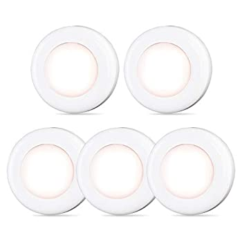 Tap Light Push Lights STAR-SPANGLED Mini Night Touch Light LED Puck Lights Portable Under Cabinet Lighting Battery Operated Powered DIY Stick On Lights Wireless Closet Counter Kitchen Warm White 5Pack