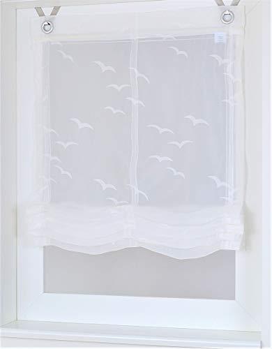 Kutti Raffrollo Ösenrollo Weiss transparent maritim Seabird Breite 60 cm x Höhe 130 cm