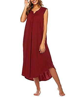 Ekouaer Summer Nightgowns for Women Plus Size Loungewear Cotton Long Night Gown V Neck Lounge Dresses
