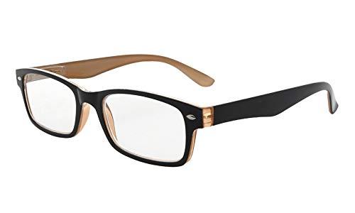 Eyekepper Kunststoff Fassung Lesebrille mit Federscharniere in Schwarz-Braun mit Brillenetui