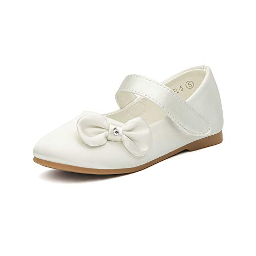 DREAM PAIRS Angel-5 Adorable Mary Jane Side Bow Buckle Strap Ballerina Flat (Toddler/Little Girl) New Ivory Satin Size 8