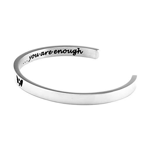 FOTAPP Semicolon Bracelet You Are Enough Inspirational Gift My Story Isn't Over Yet Gift Mental Health Awareness (enough cuff)