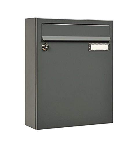 MEFA Briefkasten Sonate 133 grau (Postkasten + Namensschild; beschichteter Stahl; 33 x 26 x 100 cm) 133310