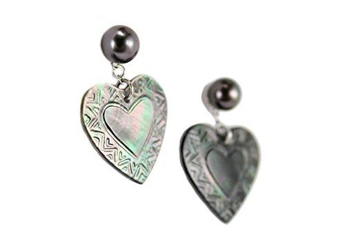 Perla, Corazón, Pendientes Tahitian Toa hoho' a Mafatu en nácar y perlas de Tahiti