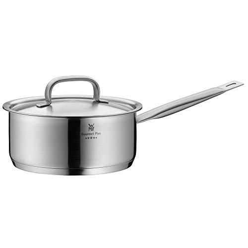 WMF Gourmet Plus Stielkasserolle 20 cm, Metalldeckel mit Dampföffnung, Kochtopf Induktion 2,5l, Cromargan Edelstahl mattiert, Innenskalierung
