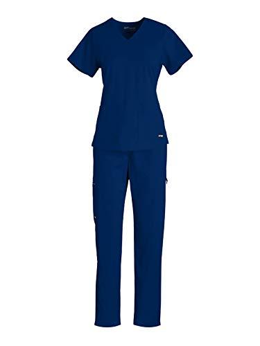 Grey's Anatomy GRST011-GRSP500 Women's V-Neck Top - Cargo Pant Medical Scrub Set Indigo XL-XL