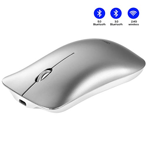 Bluetooth Mouse, Inphic Three-mode Slim Silent Rechargeable Bluetooth Wireless Mouse (BT 5.0/3.0+ 2.4G), 1600DPI Portable Mouse for Laptop PC Computer, Windows/Mac/Linux/Android/iOS/iPadOS, Silver