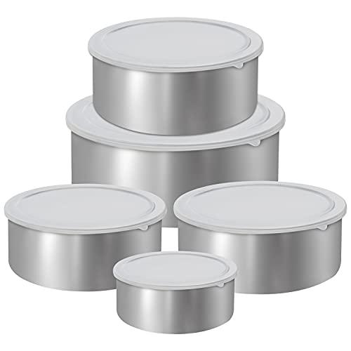 Kurtzy Contenitori per Alimenti Ciotole Acciaio Inox Cucina (5pz) - Contenitori Acciaio Inox con Coperchio Riutilizzabili a Tenuta Stagna- Contenitori Alimenti per Preparazione Pasti e Conservare Cibo