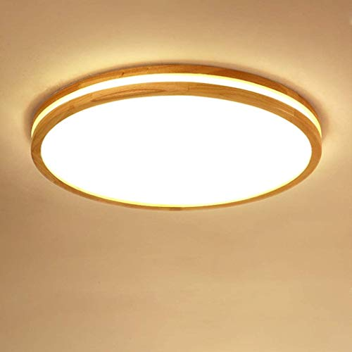 LED techo madera lámpara luz redonda rectangular lámpara de madera lámpara de techo roble regulable Modern interior minimalista doble capa transmitancia luz de techo de madera 48W 50CM