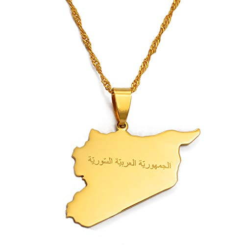 Siria Nombre árabe del país y Mapa Collares Pendientes Colgante de Color Dorado Sirios Mapas Joyas Regalos