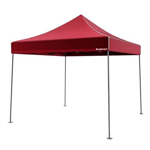 Canopy Tent Outdoor Party Shade, Instant Set Up and Easy Storage / Portable Carry Bag, Water Resistant Spacious Summer Cover 10x10 By Stalwart (Red)