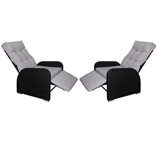 KMH®, 2er Set Polyrattan Liegestuhl Bob inklusive Auflage! (schwarzes Polyrattan - graue Auflage) (#106189)