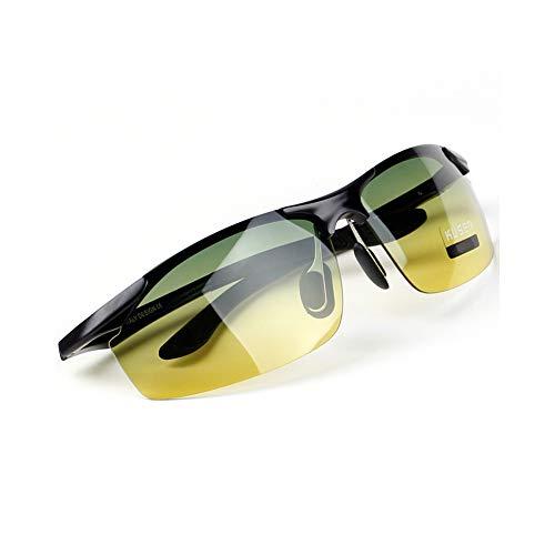 Polarizadas De Conducción Gafas, Cambio De Color De La Lente, Vidrios UV400 Fotocromáticas, Marco De Aluminio Y Magnesio, Día Y Noche Visión De HD, Antideslumbrante/Anti-UV (A)
