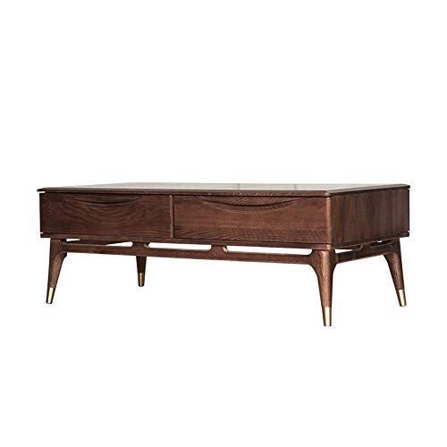 CHENSHJI Tea Table Nordic Solid Wood Coffee Table Manufacturer Red Oak Colour Water-based Ribbon Storage Tea Table Living Room Walnut Colour Room (Colour: Brown, Size: 130 x 65 x 45 cm)