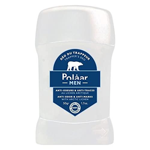 Polåar Men - Desodorante Trapper's, Anti-Olores y Anti-Marcas con Liquen Ártico - 50 gr - Stick Hombre 0% alcohol - Frescura y eficacia - Anti manchas - 100% natural, fabricado en Francia, vegano