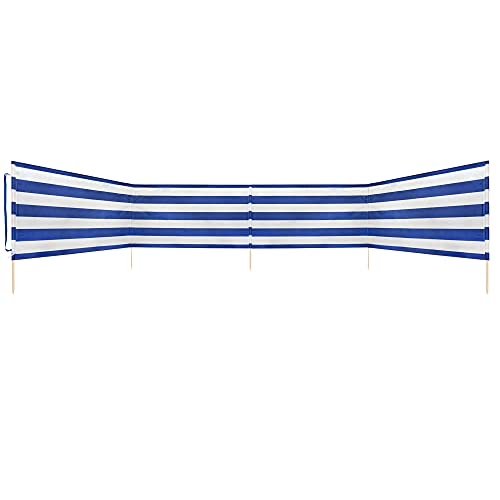 Idena Cortavientos Aprox. 600 x 80 cm, Color Azul y Blanco, con Correa de Transporte y Cintas de fijación, para Playa, Camping y jardín, Unisex Adulto