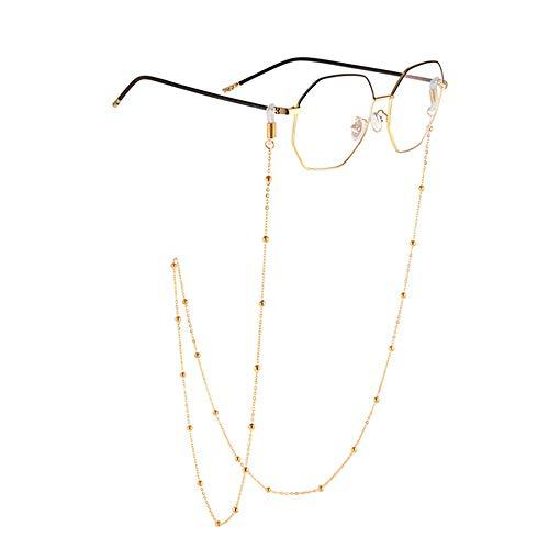 Yhjkvl-AC - Cadena de Metal para Gafas, Gafas de Sol, Cadenas Colgantes, con Cristales Antideslizantes Dorado Dorado