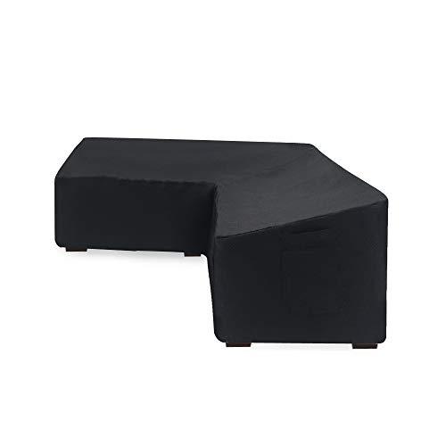 Linkooler Garden Furniture Covers Rattan Corner Sofa Sets L Shape Left Side Short Extra Large Black Waterproof