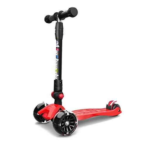 MAGO Scooter, LED-Up roues, pliable design, poignées ajustables et construction légère, les enfants de surf pliant enfants scooter super large roue flash slide (Color : Green)