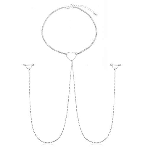 JFORYOU Nipple Ring with Choker Necklaces Stainless Steel Nipple Rings Chain Silver-Tone Heart Punk Chokers for Women Nipple Barbell Piercing Jewelry