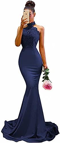 Women Long Backless Prom Dress Halter Lace Mermaid Bridesmaid Evening Dresses Navy Blue