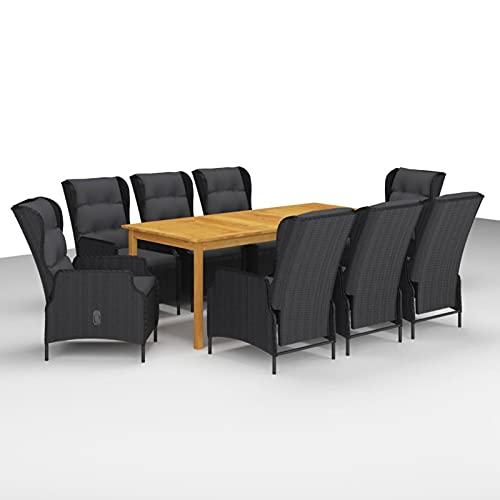 Tidyard Juego de Comedor para Jardín 9 Piezas Muebles Mobiliario Exterior Terraza Jardín Patio Salón Hogar Cocina Comedor Mesa y Sillón Asiento Suave con Ajustable Respaldo Gris Oscuro