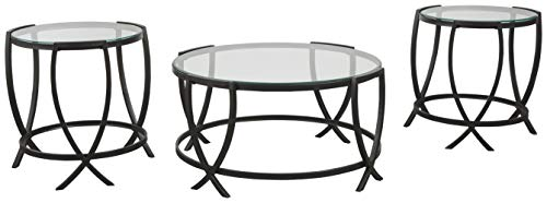 Signature Design by Ashley – Tarrin Glass Top Occasional 3-Piece Table Set, Black