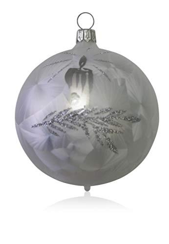 Kugeln Eislack weiß mit Kerze 5 Stück d 6cm Christbaumschmuck Weihnachtsbaumschmuck mundgeblasen, handdekoriert Lauschaer Glas das Original